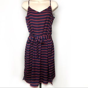 Ann Taylor Belted Midi Summer Dress | 10 Red Navy